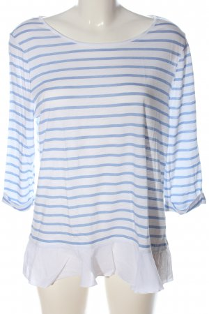 Cartoon Long Sleeve Blouse white-blue striped pattern casual look