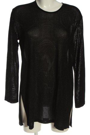Cartoon Long Blouse black weave pattern casual look