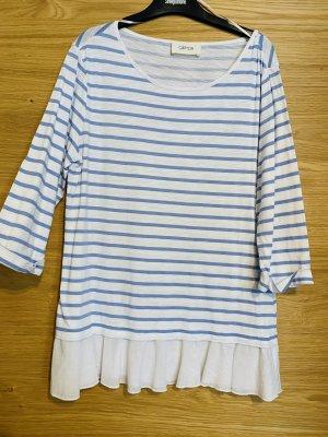 Cartoon T-shirt rayé blanc-bleu acier