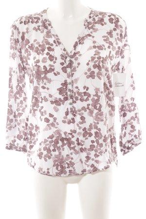 Cartoon Schlupf-Bluse weiß-roségoldfarben florales Muster klassischer Stil