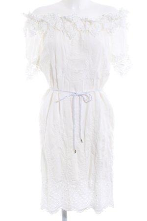 Cartoon schulterfreies Kleid weiß Metallelemente