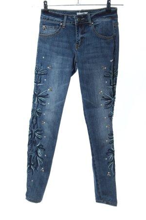 Cartoon Skinny Jeans blau Blumenmuster Casual-Look