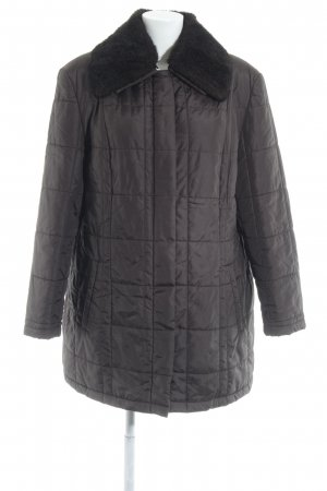 Cartoon Quilted Coat dark brown quilting pattern casual look