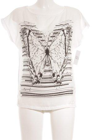Cartoon T-Shirt weiß-schwarz Motivdruck Street-Fashion-Look