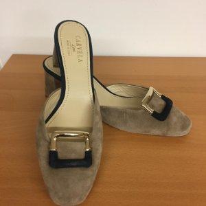 Carvela Heel Pantolettes green grey-grey brown leather