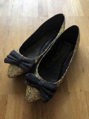 Carvela Kurt Geiger Glitzer Ballerinas mit Schleife 41 gold neu Pailetten