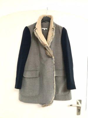 Carven Manteau d'hiver gris brun-bleu foncé fourrure
