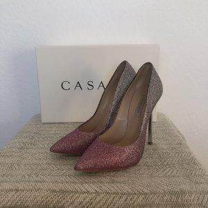 Casadei Wysokie obcasy w kolorze różowego złota