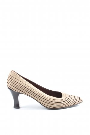 Casadei High-Front Pumps cream-brown striped pattern casual look