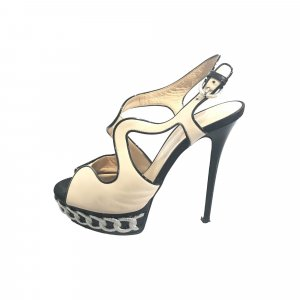 Casadei Leather Bi-Color Platform Sandal