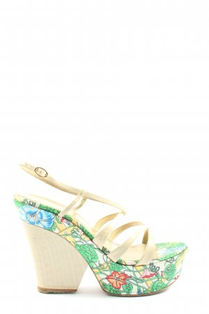 Casadei Platform High-Heeled Sandal flower pattern elegant