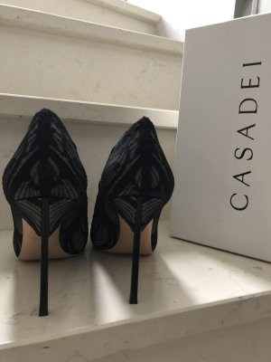 Casadei High Heels black-silver-colored leather