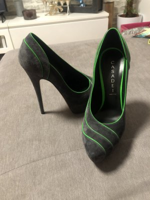 Casadei Platform Pumps black-neon green