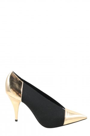Casadei Pointed Toe Pumps black-gold-colored business style
