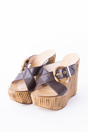 Casadei Wedge Sandals dark brown-beige