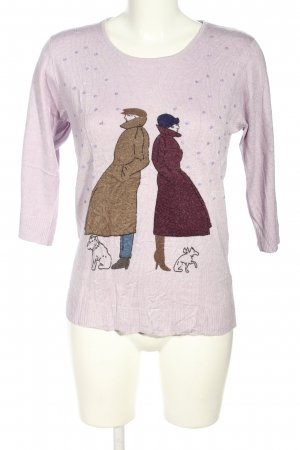 Cashmasoft Knitted Sweater lilac-brown themed print casual look