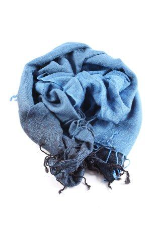 Cashmere Écharpe à franges bleu gradient de couleur style décontracté