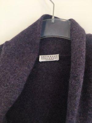 Brunello Cucinelli Giacca in maglia viola-grigio