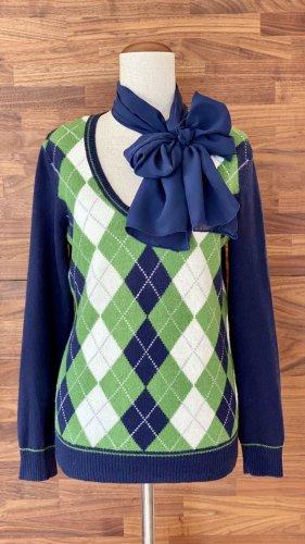 Cashmere-Pullover, dunkelblau-grün