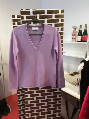 Allude Pull col en V rose-mauve cachemire
