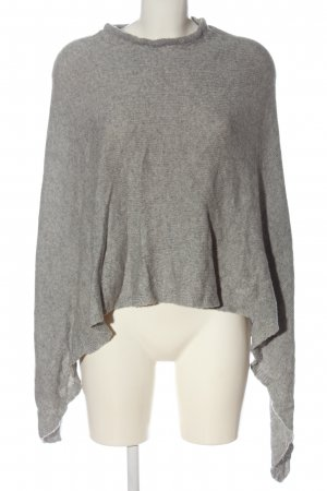 Cashmere Knitted Poncho light grey flecked casual look
