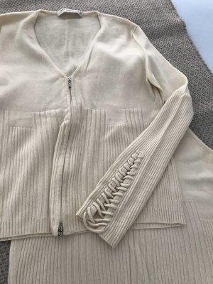 Maria di Ripabianca Twin set in maglia bianco sporco
