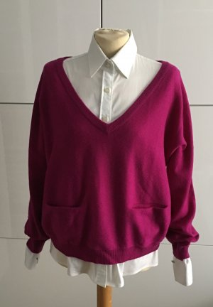 Cashmere wolle mix pullover in fuchsia