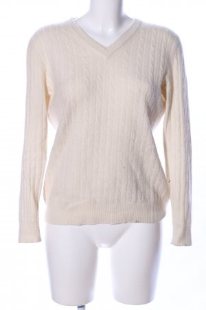 Cashmerepullover creme Zopfmuster Casual-Look