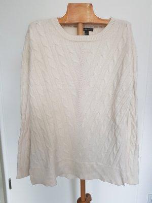 Mango Kaszmirowy sweter w kolorze białej wełny-kremowy