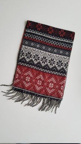 Cashmink winterlich-gemusterter Schal - rot schwarz weiß