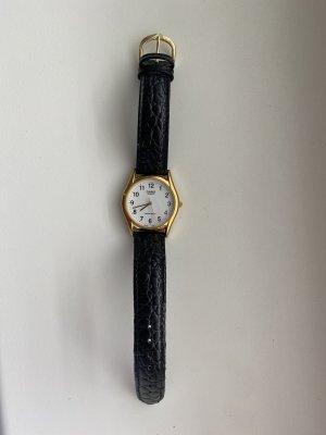 Casio Horloge met lederen riempje zwart-goud