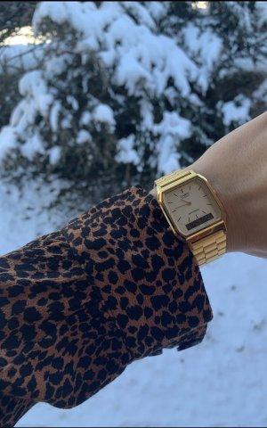 Casio Horloge met metalen riempje zandig bruin