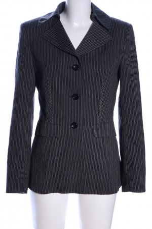 Caspar David Blazer long noir-gris clair motif rayé style d'affaires