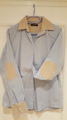 Cassani Hemd Bluse Damen mit Patches an den Ellebogen blau Beige Gr 40