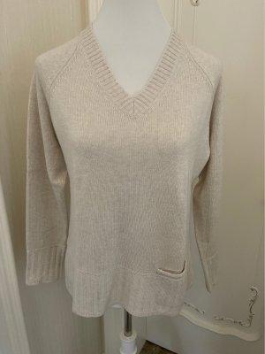 Cassis V-Neck Sweater cream-light brown