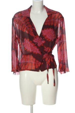 Cassis Blouse portefeuille rouge-brun motif abstrait élégant