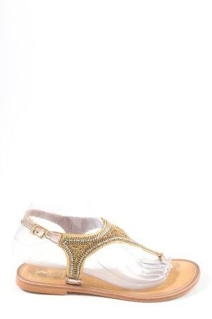 Cassis Sandalo toe-post oro-marrone stile casual