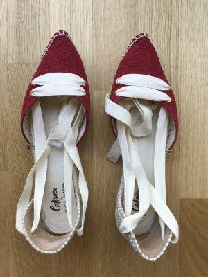 Castañer Espadrille rouge foncé-blanc cassé coton