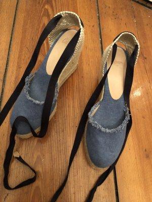 Castañer Platform Sandals cornflower blue-oatmeal
