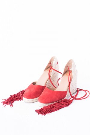 Castañer Wedge Sandals red-beige leather
