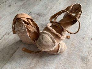Castaner Wedges/Riemchen Sandalen - Größe 36 - Beige/Braun - Leinen