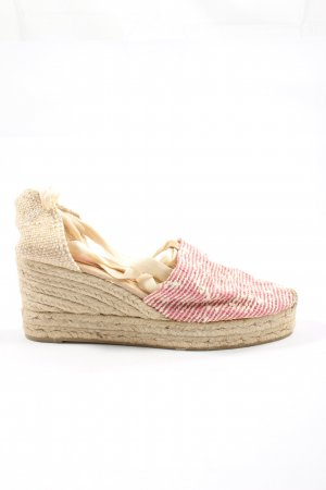 Castañer Wedges Sandaletten pink-creme Streifenmuster Casual-Look