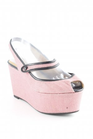 Castañer Wedge Sandals pink-black weave pattern Lather elements