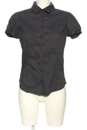 Castro Short Sleeved Blouse black-light grey striped pattern business style