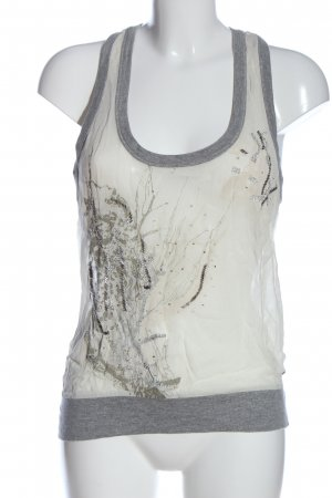 Castro Strappy Top white-light grey themed print casual look