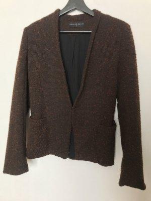 Blazer en tweed brun noir-cognac