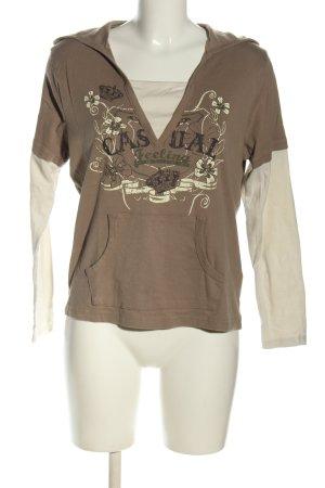 Casual W.E.A.R Shirt met capuchon bruin-wolwit prints met een thema