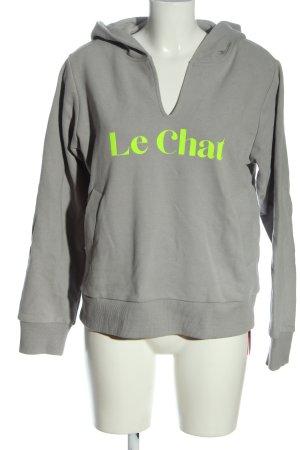 CAT NOIR Hooded Sweatshirt light grey printed lettering casual look