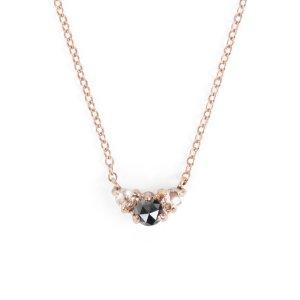 Catbird Maleficent Kette rosegold mit weißen und schwarzen Diamanten