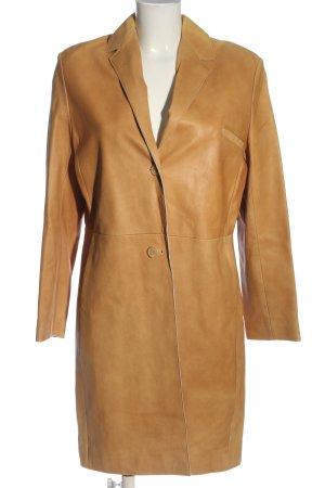 Catherine Khan Manteau en cuir orange clair style décontracté